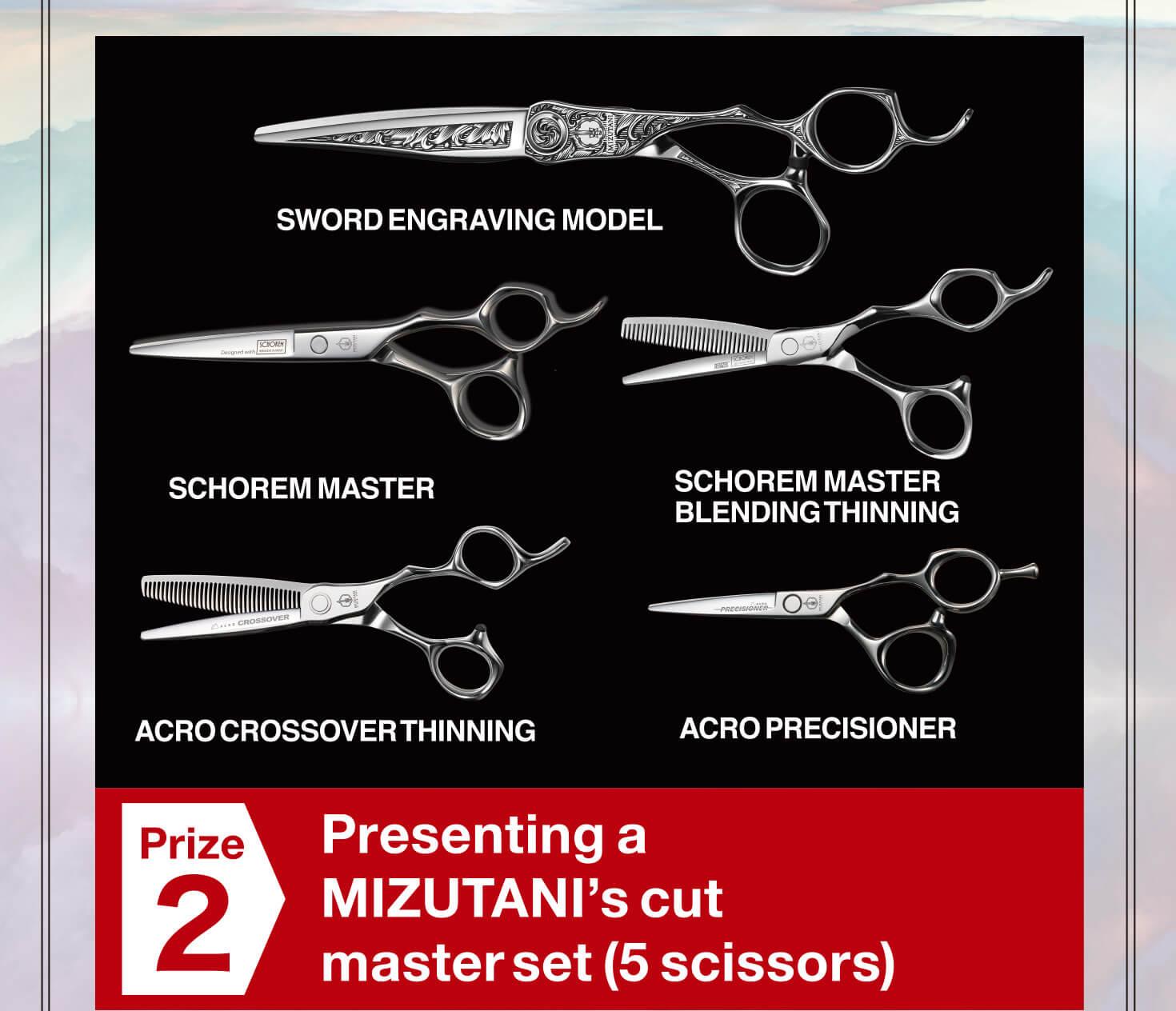 Prize 2 Presenting a MIZUTANI's cut master set (5 scissors)