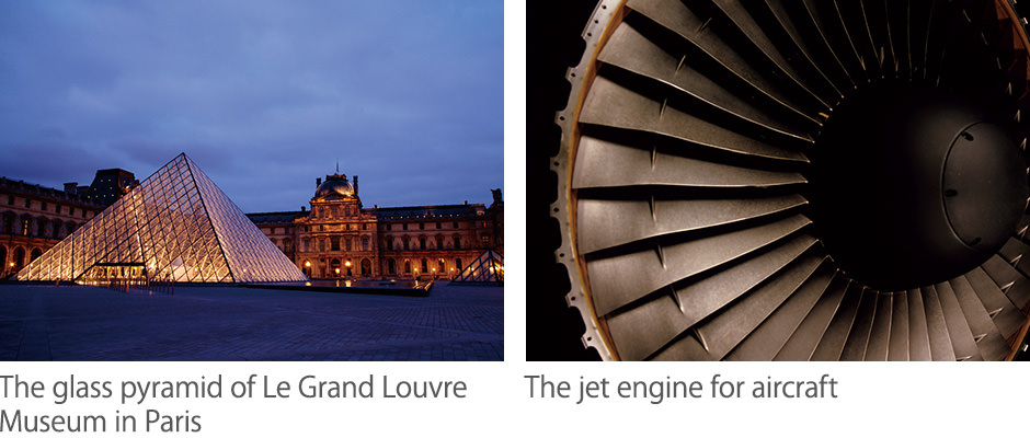 The glass pyramid of Le Grand Louvre Museum in Paris / The jet engine for aircraft